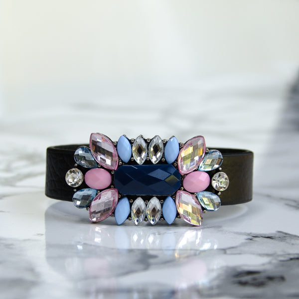 Black Leather Floral Jewel Cuff Bracelet