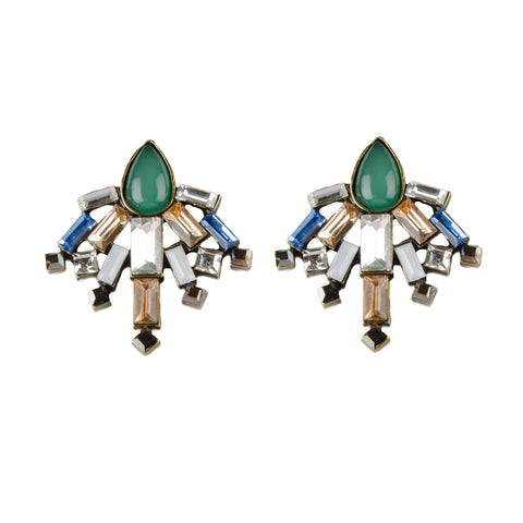 CAIA Geometric Multi Jewel Stud Earrings