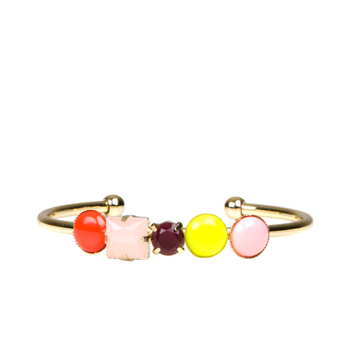 Bright Jewel Gold Cuff Bangle