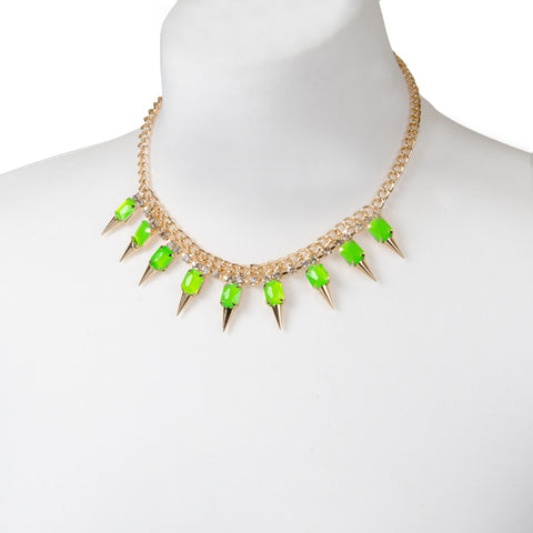 Gold Neon Green Spike Necklace