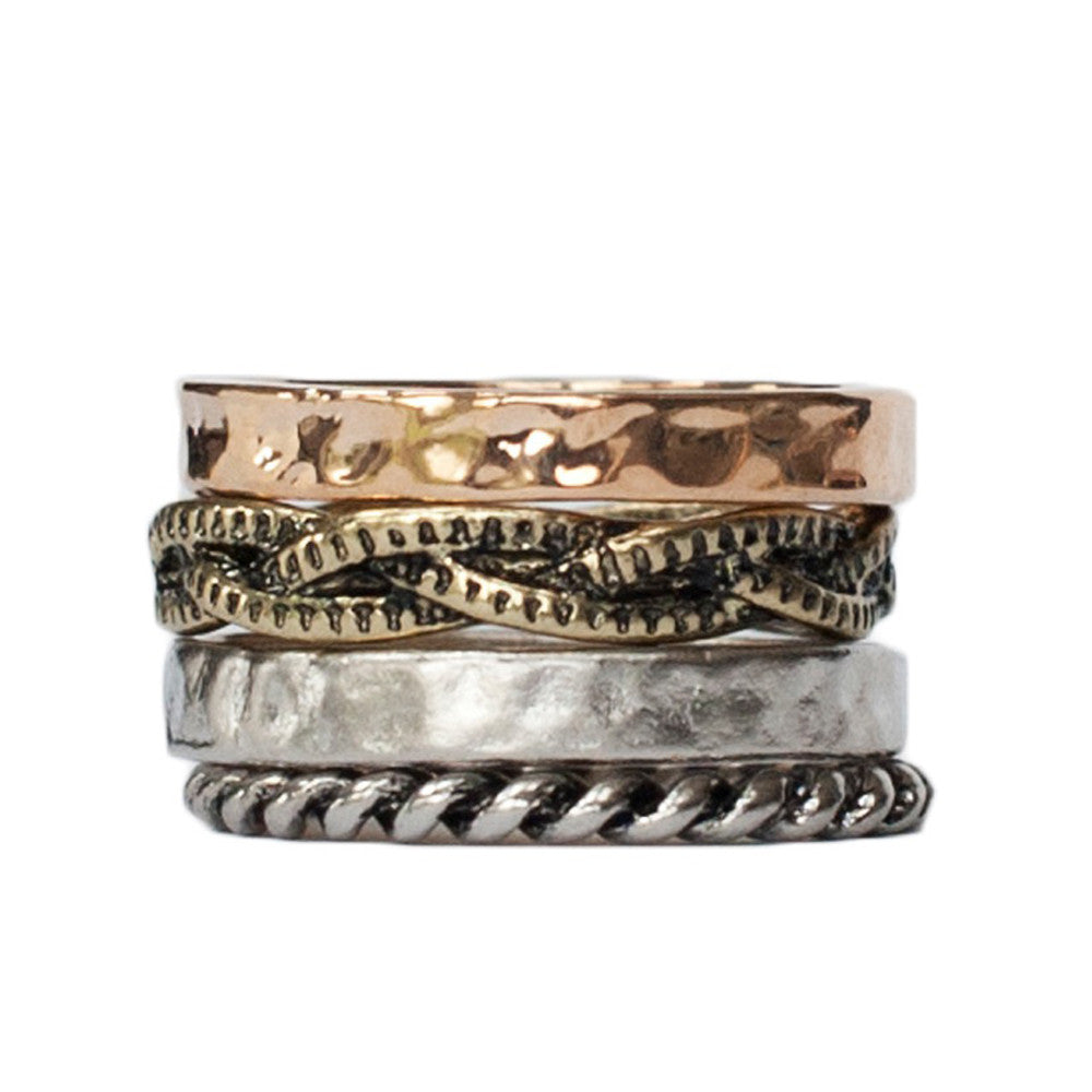 Set of 4 patterned gold and silver ornate stack rings