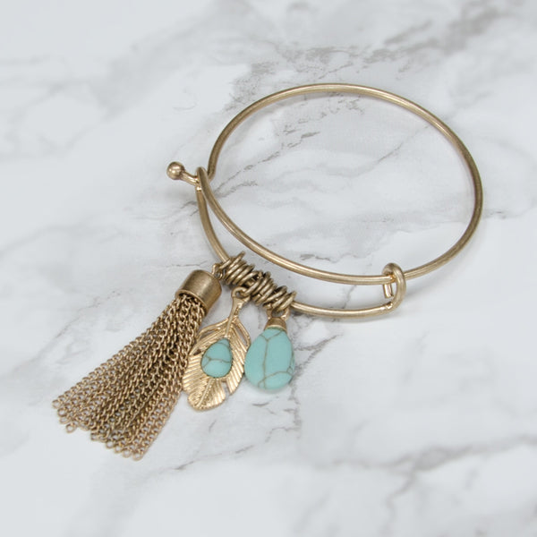 KYLEE Brushed Gold Leaf Tassel Charm Bangle