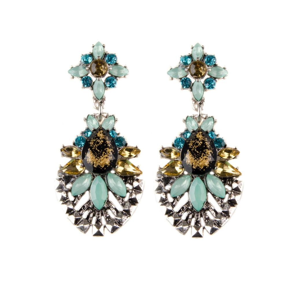 IDA Vintage Inspired Statement Jewel Chandelier Earrings
