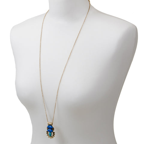 IMOGEN Long Blue Geometric Pendant Necklace