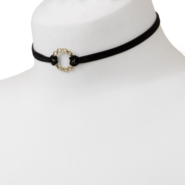 Black faux suede choker with gold hoop detail