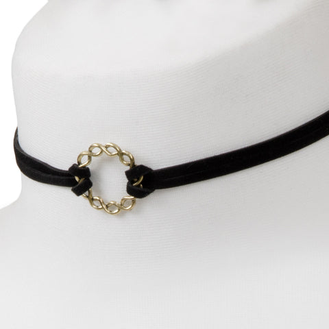 Gold Hoop Suede Black Choker Necklace