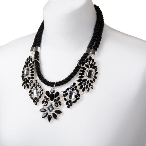 Black Rope Floral Jewel Collar Necklace