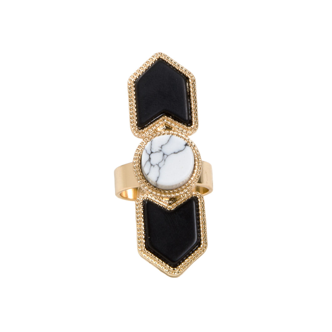 Geometric Gold Marble Stone Ring