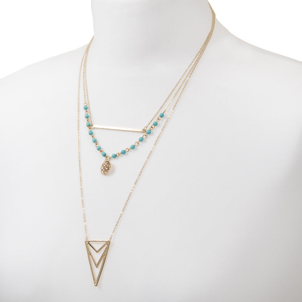 gold multi row layered geometric necklace with turquoise beads and triangle pendant