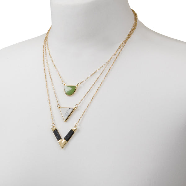 Gold Layered Geometric Multi Row Necklace