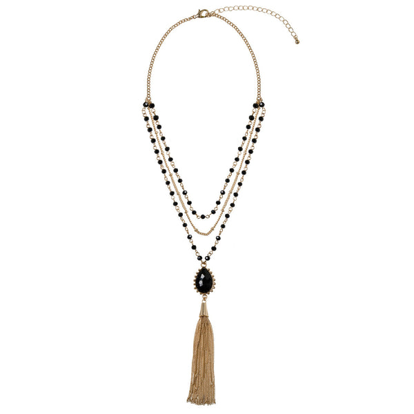 JAYLA Gold Multi Row Tassel Bead Necklace