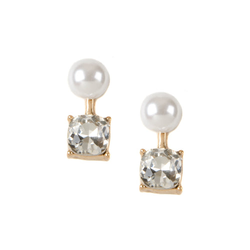 Pearl Front Back Earrings With Clear Jewel