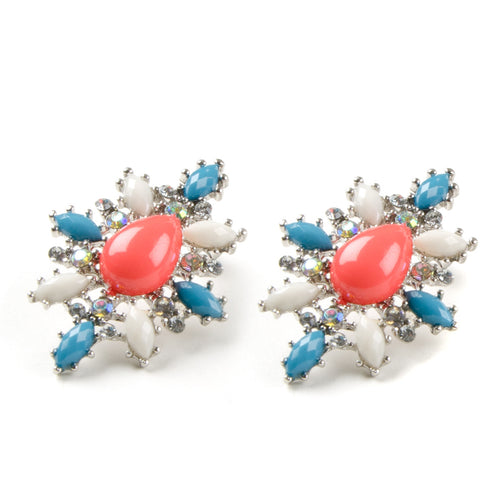 Coral Pastel Floral Jewel Cluster Earrings
