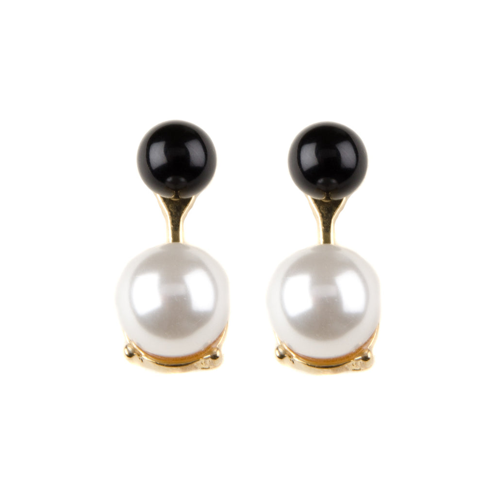 KYRA Pearl & Black Bead Front To Back Earrings