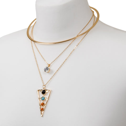 Gold torque necklace with multi layers, triangle beaded pendant and jewel charm