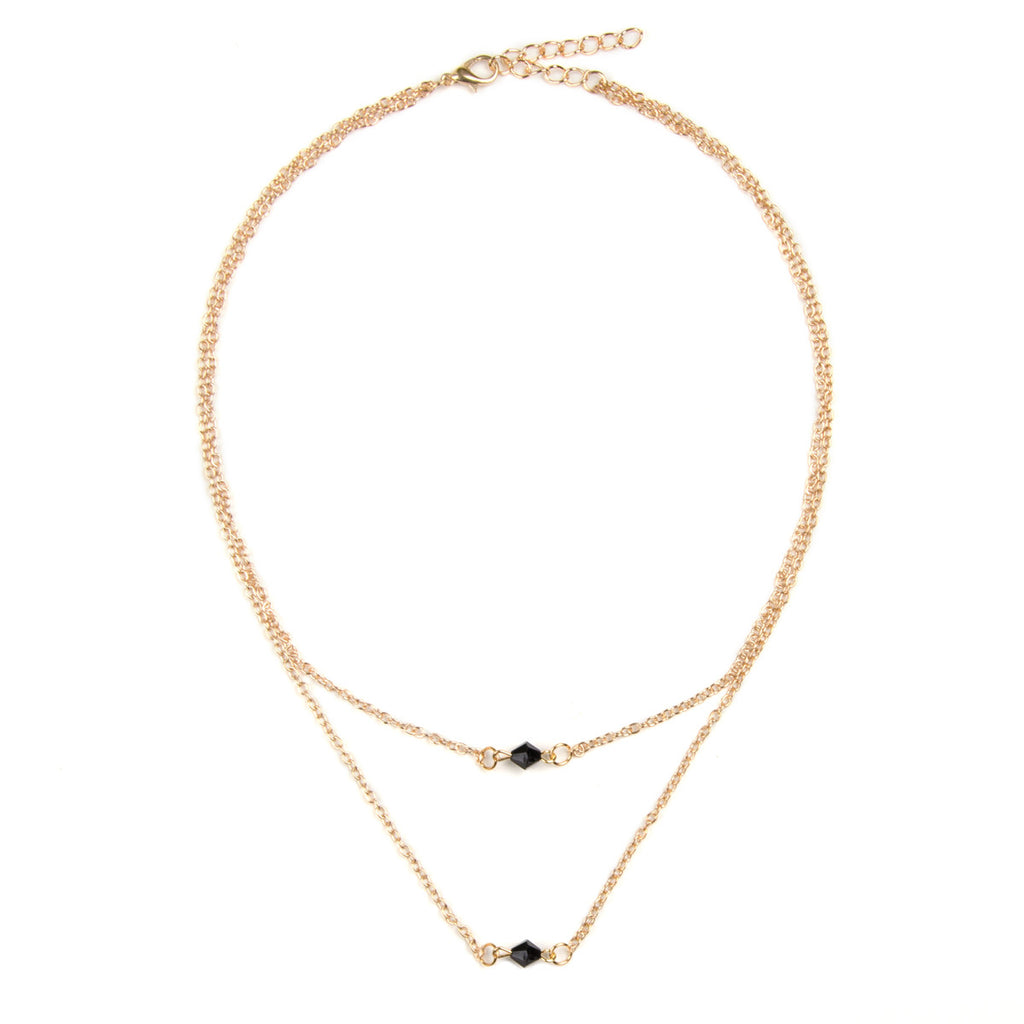 Dainty Gold & Black Bead Multi Row Necklace