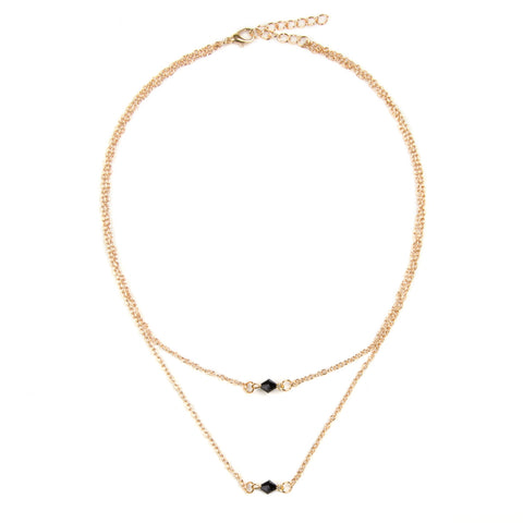 RACHEL Dainty Gold & Black Bead Multi Row Necklace