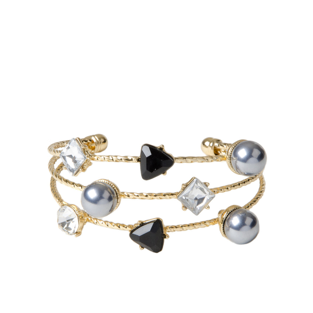 Stacked Gold Cuff With Jewel And Pearls
