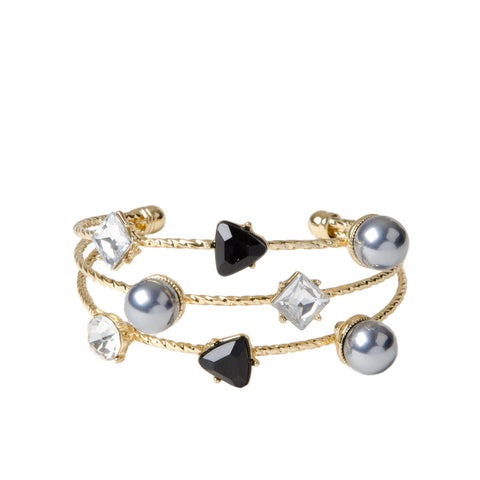 MACI Stacked Gold Cuff With Jewel And Pearls