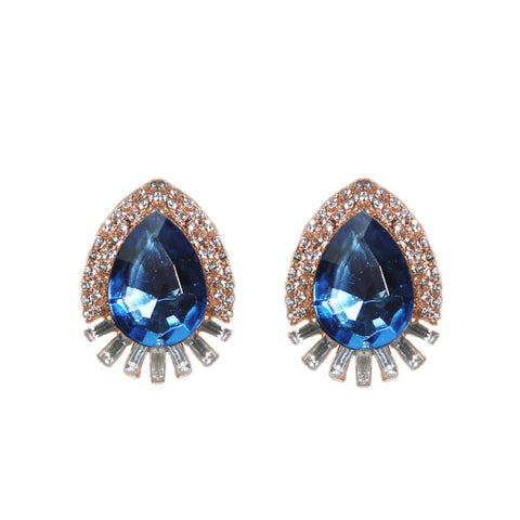 Statement beautiful oval shaped jewel earrings with sapphire center stone