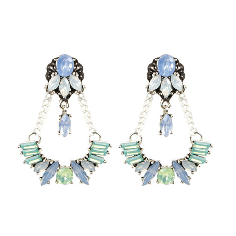SARA White Pastel Jewel Chain Earrings