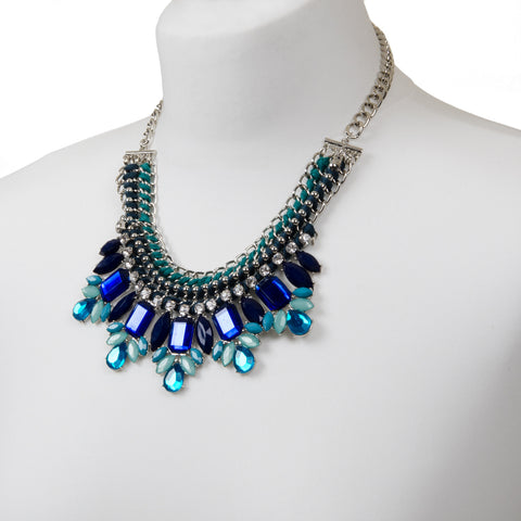 SARAI Statement Silver And Blue Jewel Necklace