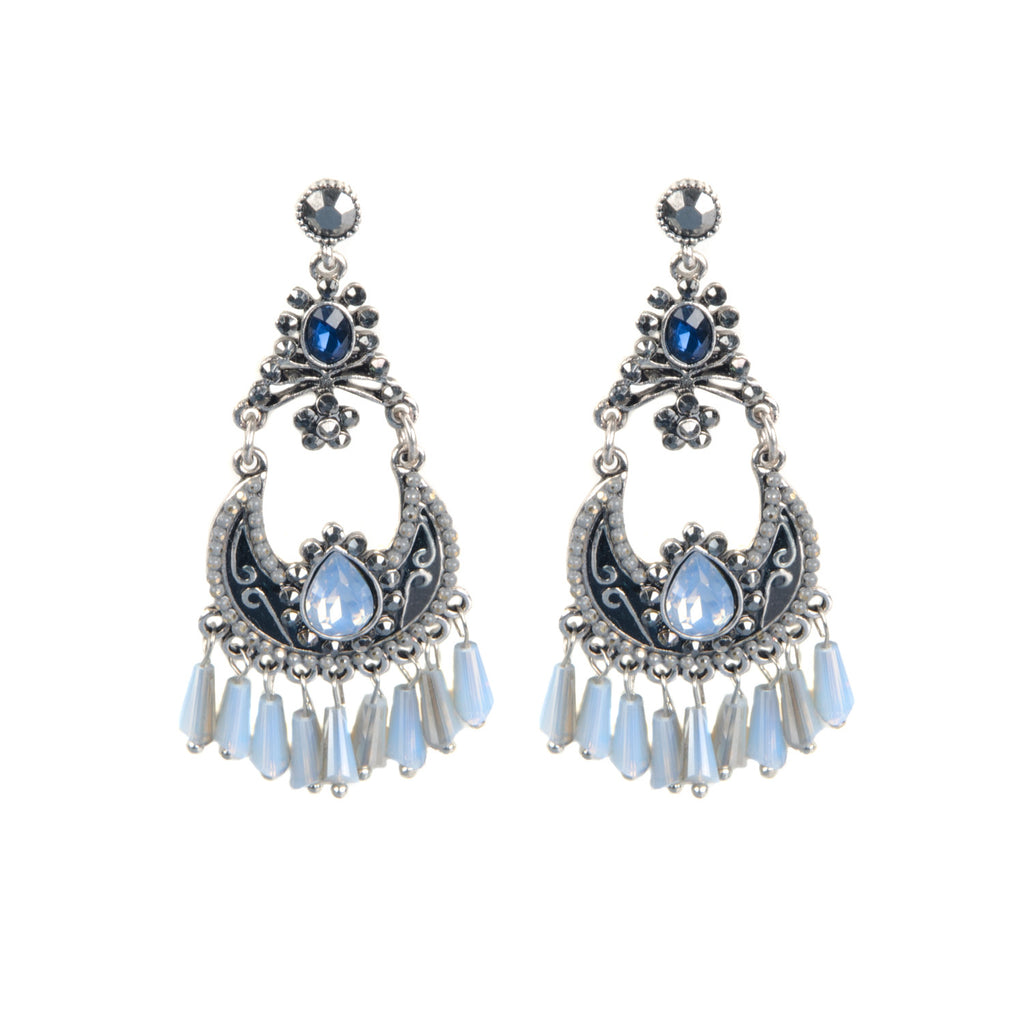 Silver Tone Beaded Jewel Drop Earrings