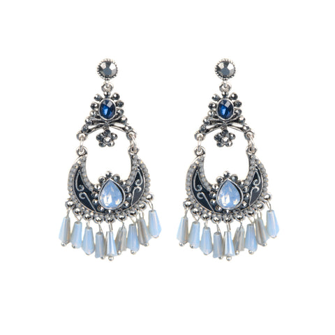 ANIKA Silver Tone Beaded Jewel Drop Earrings