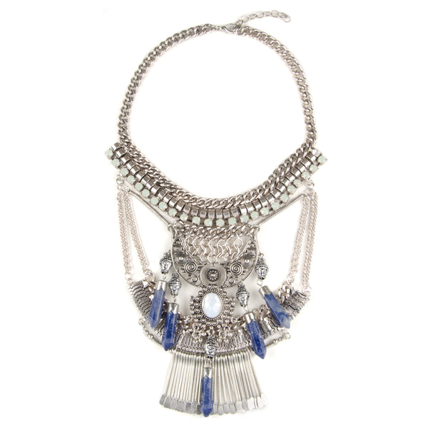 ANIKA Silver Boho Statement Semi Precious Jewel Necklace
