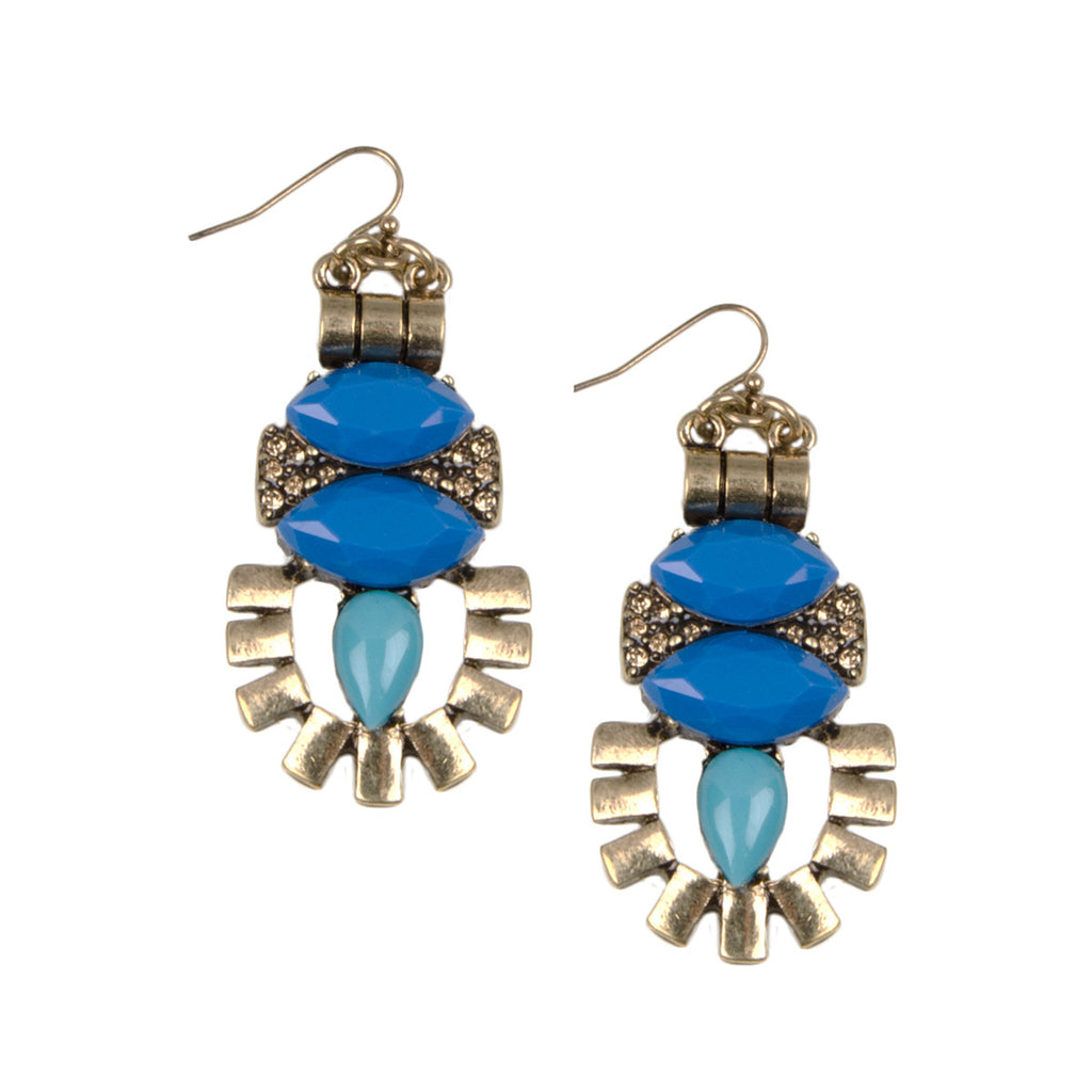 Blue Geometric Drop Earrings
