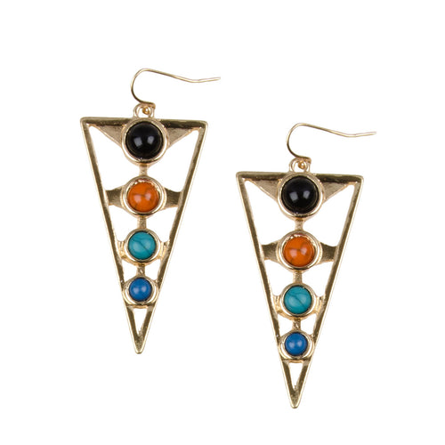 Gold cut out geometric shaped drop earrings with clear and black rhinestones