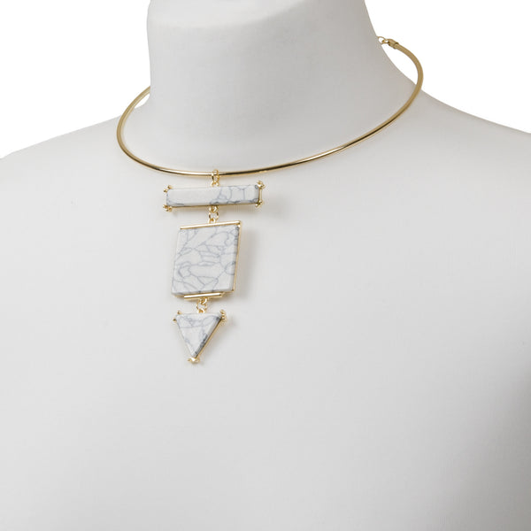 MAYA Gold White Marble Choker Necklace
