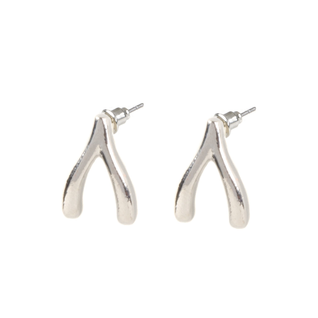 TAYA Silver Wishbone Earrings