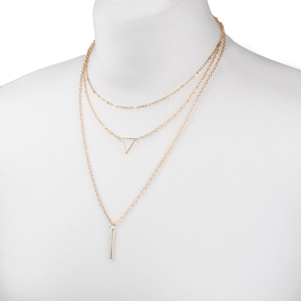 Gold delicate geometric layered multi row necklace with triangle and thin bar charms