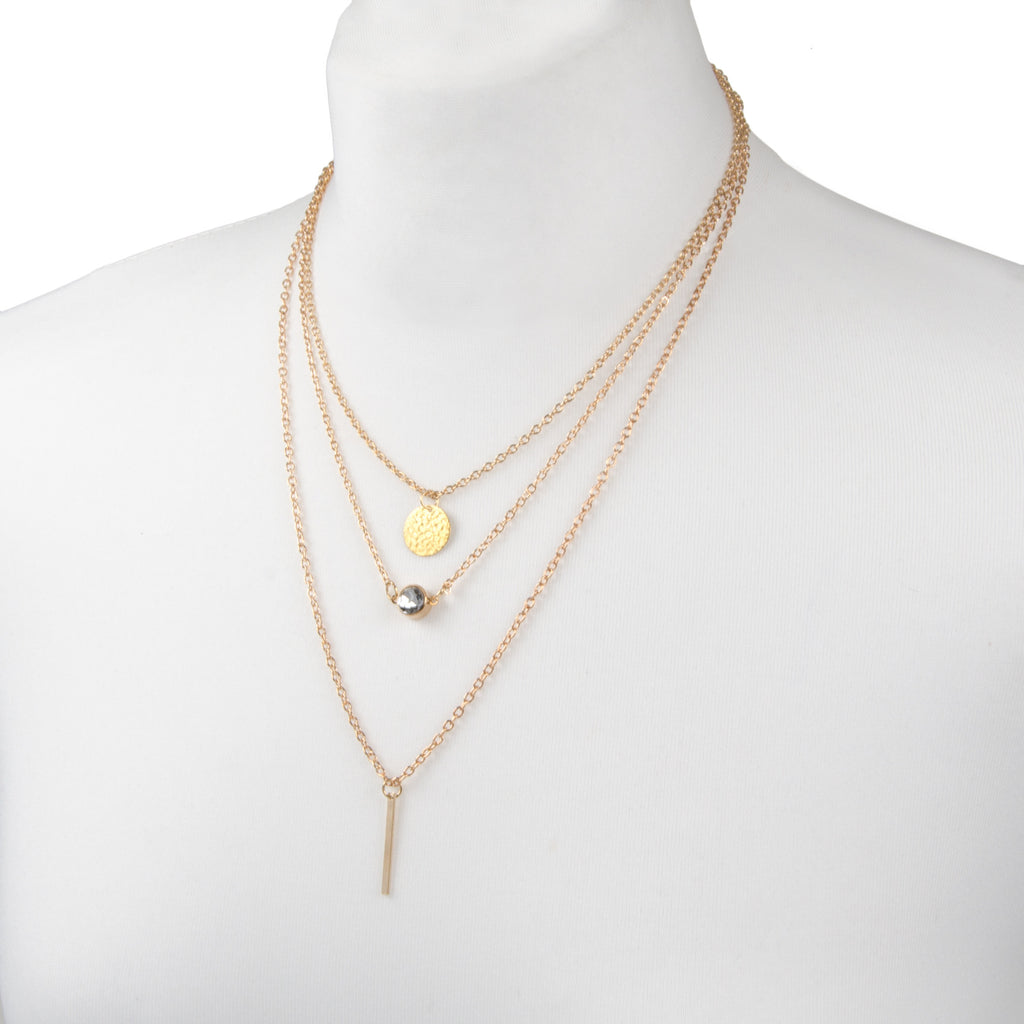 gold multi row layered charm necklace with delicate chain from womens costume jewellery