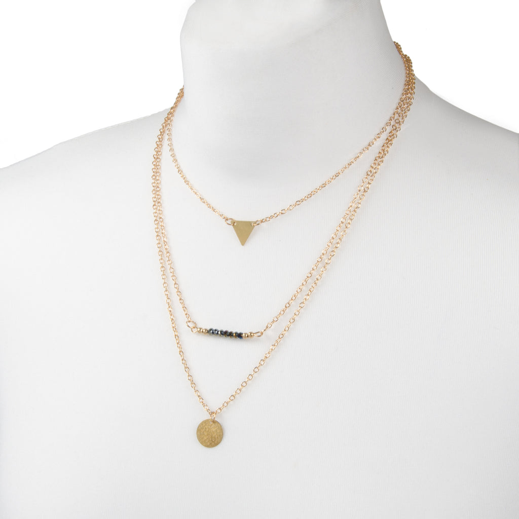 womens delicate gold black bead layered mutli row charm necklace from the festival jewellery collection