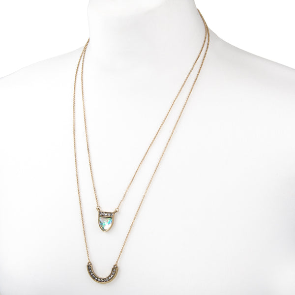 womens gold layered multi row jewel necklace with vintage gold delicate chain