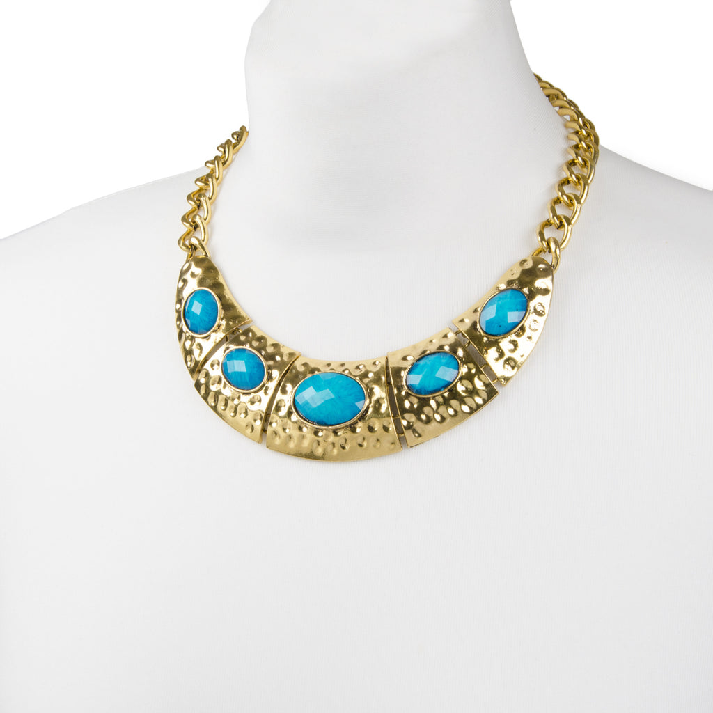 Gold chunky tribal inspired collar necklace with turquoise coloured stones