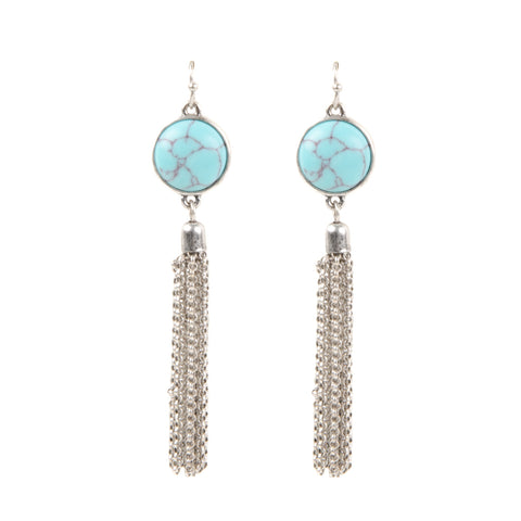 womens silver tassel drop earrings with turquoise semi precious stone detail from our festival jewellery collection