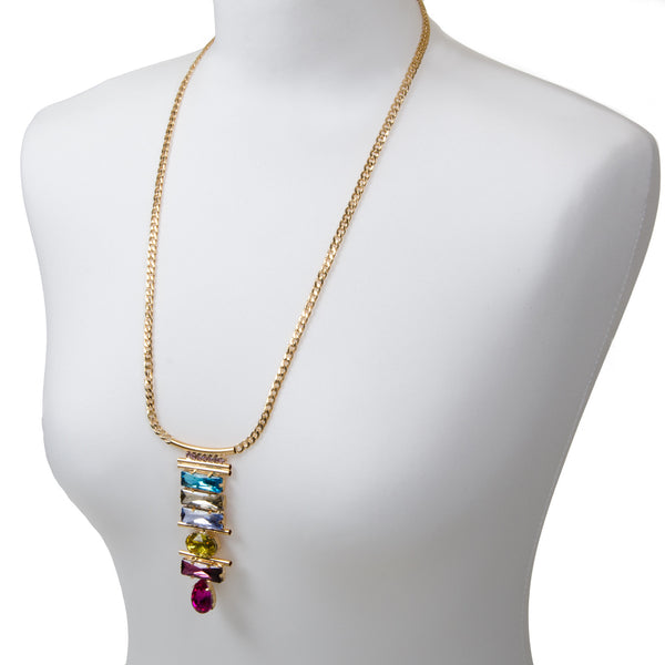 YASMIN Bright Long Jewel Pendant Necklace