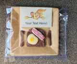 Chocolate Egg & Bacon Toast with an edible personalised message