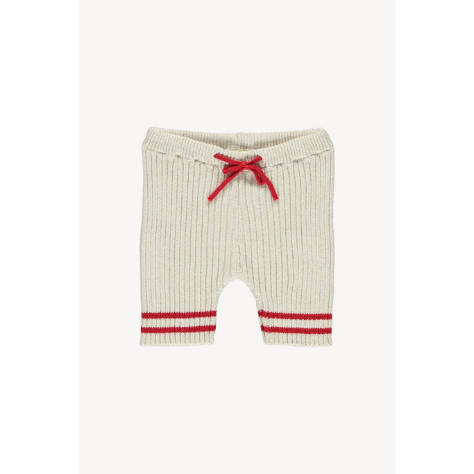 Fin & Vince Bottoms Heritage Knit Short - brick red/natural