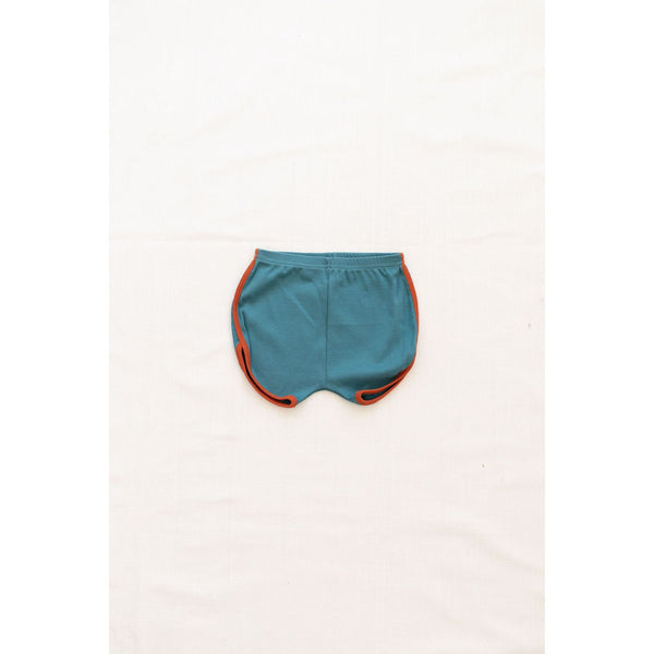 Fin & Vince Bottoms Vintage track shorts - peacock w/ red rock trim