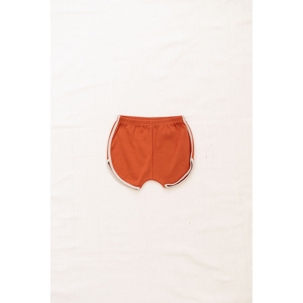 Fin & Vince Bottoms Vintage track shorts - Red rock w/ oatmeal trim