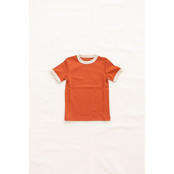 Fin & Vince Tops Vintage Tee -  Red rock w/ oatmeal trim