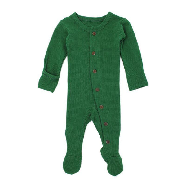 Loved Baby Bodysuit Newborn Loved Baby - Organic Thermal Footed Overall - Emerald