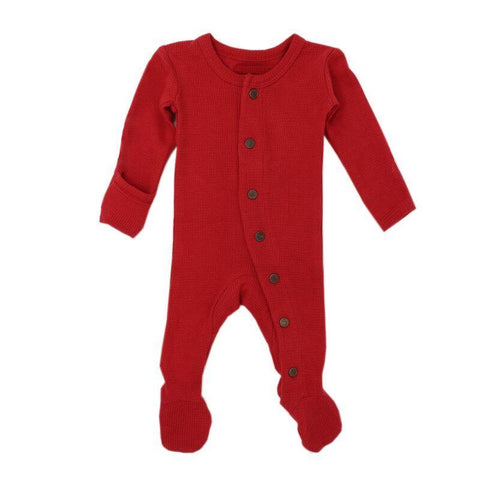 Loved Baby Bodysuit Newborn Loved Baby - Organic Thermal Footed Overall - Ruby