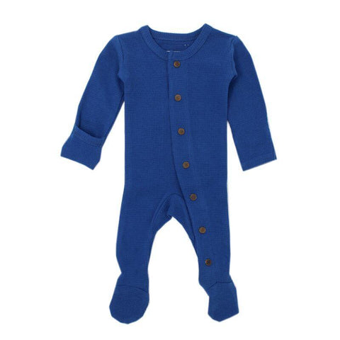 Loved Baby Bodysuit Newborn Loved Baby - Organic Thermal Footed Overall - Sapphire