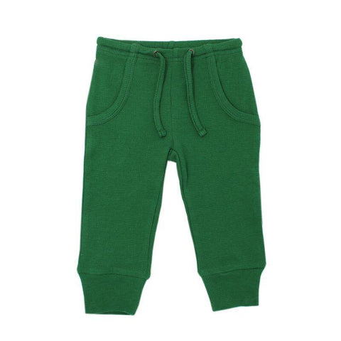 Loved Baby Bottoms 18-24 Months Kids Organic Thermal Waffle Jogger Pants  - Emerald