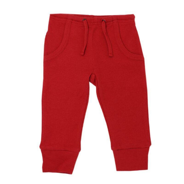 Loved Baby Bottoms 18-24 Months Kids Organic Thermal Waffle Jogger Pants  - Ruby